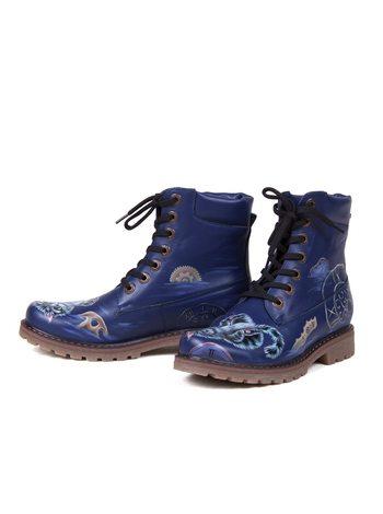 """Ботинки  """"Маленький Чешир"""" синие"""
