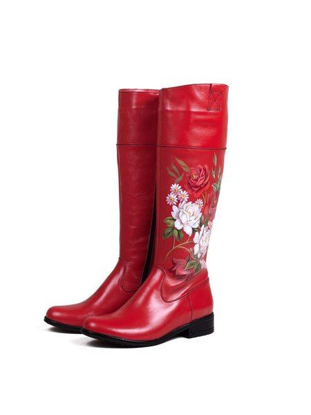 """Сапоги """"Розы"""" красные"""