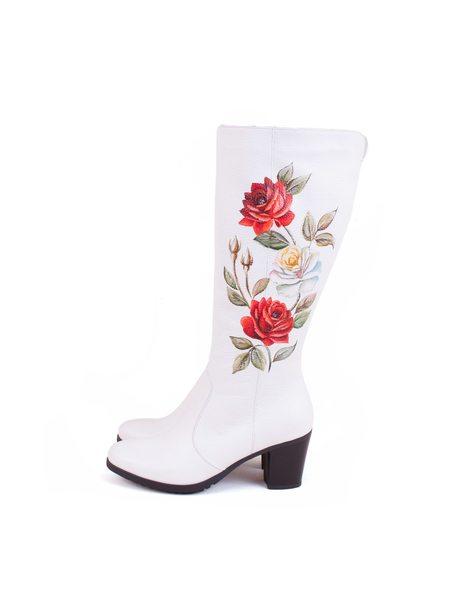 """Сапоги """"Розы"""" белые"""