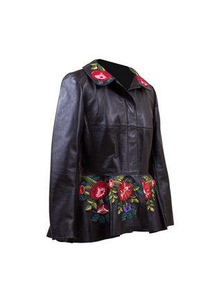 "Кожаная куртка ""Вышивка красные цветы"""