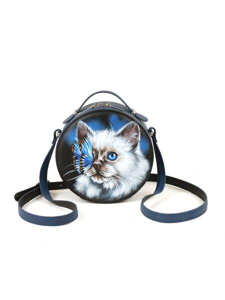 """Круглая сумка """"Кошечка с бабочкой"""""""